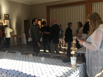 Reception with Oneg Shabbat, TBI, Français du Monde, and the Deputy Consul General of France (pictured in blue jacket)